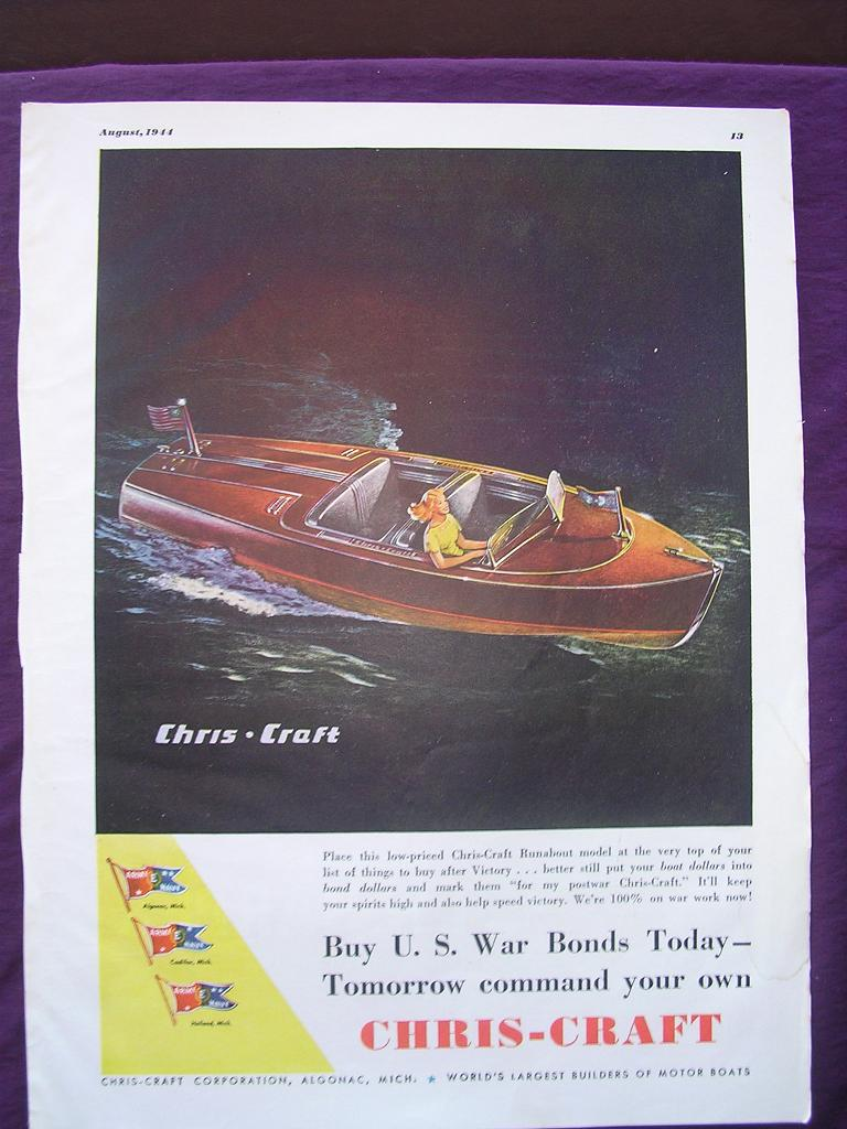 Esquire 1944 CHRIS - CRAFT WW2 Advert 'Buy U.S. War Bonds Today'