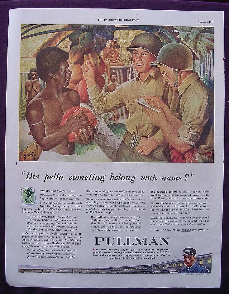 """Esquire 1944 PULLMAN WW2 Advert """"Dis pella soeting belong wuh - name"""""""
