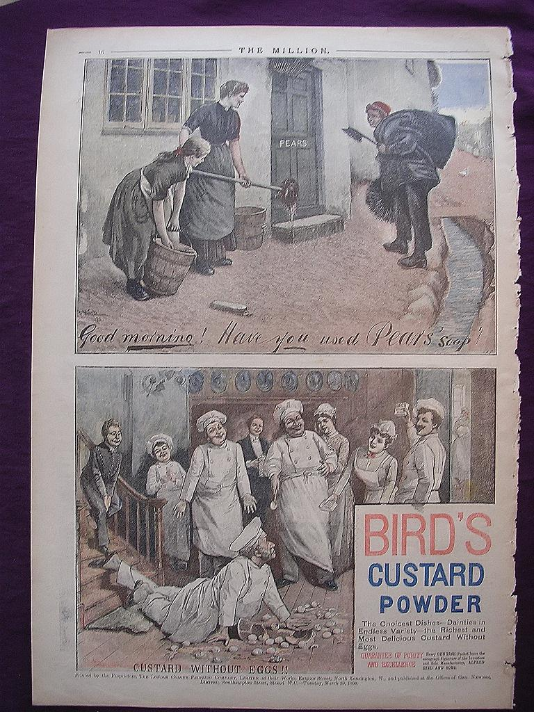 Victorian Colour Adverts for PEAR'S Soap & BIRD'S Custard From THE MILLION Newspaper 1892