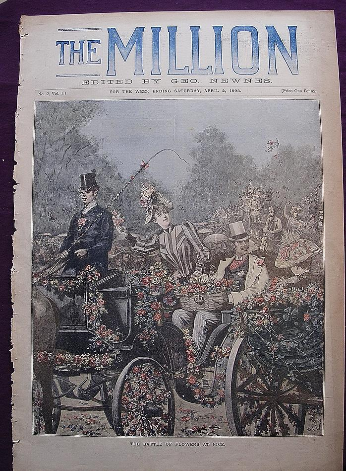 Beautiful 1892 Front Cover Of THE MILLION Newspaper 'The Battle Of Flowers At Nice'