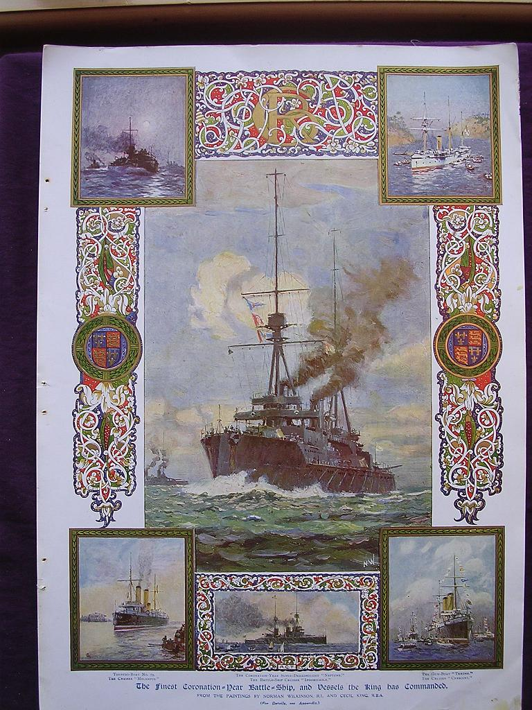 Coronation Of King George V & Queen Mary - Plate V111 The Finest Coronation Year Battleship, And Vessels The King Has Commanded