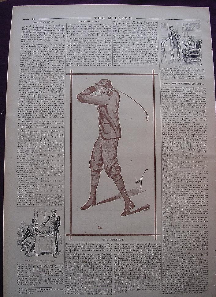 """A Page From THE MILLION Newspaper 1898 """"Mr. Golfour"""""""