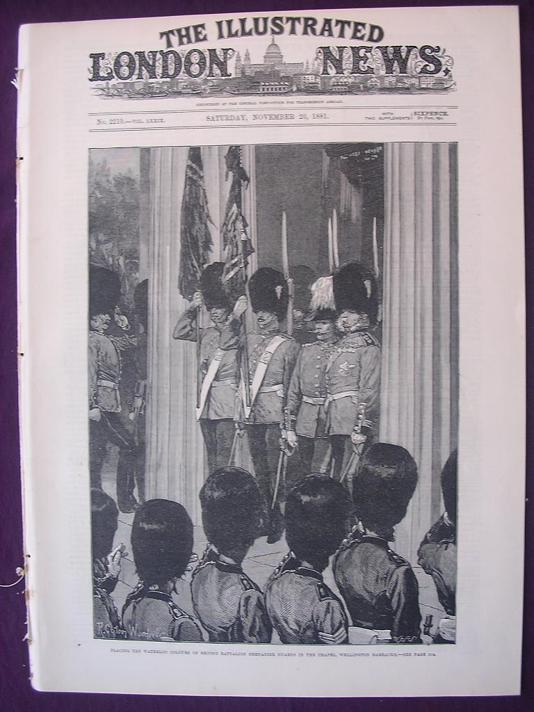 Front Cover The Illustrated London News Nov. 26 1881'  - 'Placing The Waterloo Colours Of Second Batellion Grenadier Guards In The Chapel, Wellington Barracks'