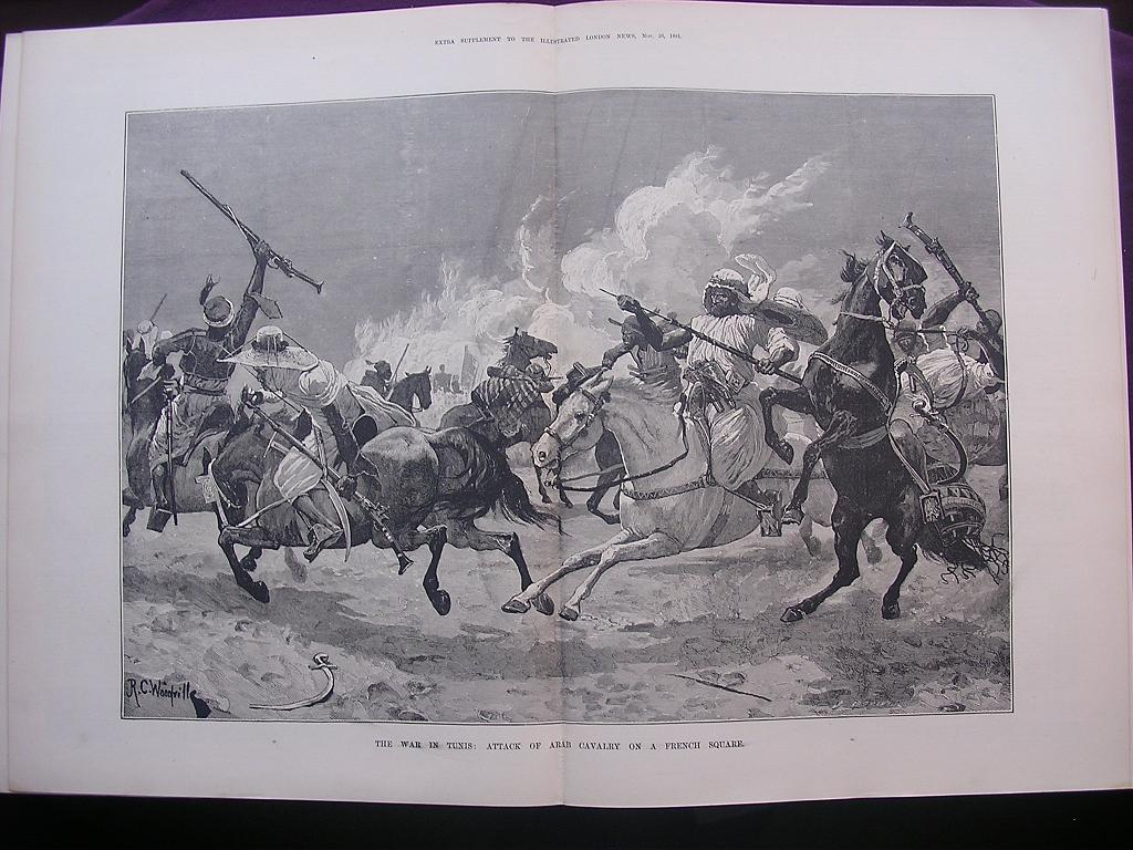 'The War In TUNIS: Attack Of Arab Cavalry On A French Square' - Illustrated London News Nov. 26 1881