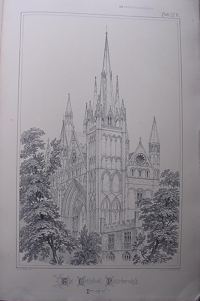 Stunning Large 1858 Lithograph of THE CATHEDRAL  - Peterborough - Nottinghamshire