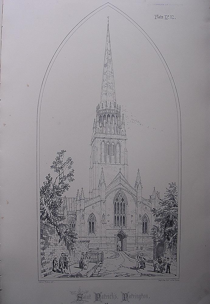 Stunning Large 1858 Lithograph of SAINT PATRICK'S - Patrington - Yorkshire