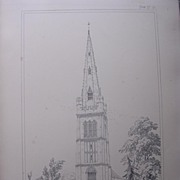 Stunning Large 1858 Lithograph of SAINT PETER'S -  Kettering - Northamptonshire