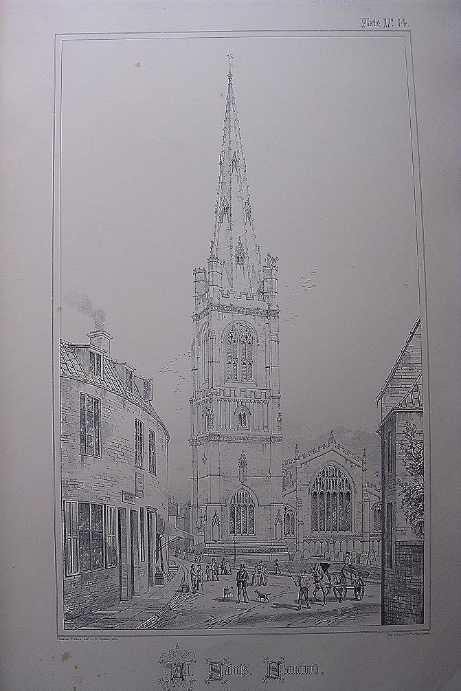 Stunning Large 1858 Lithograph of ALL SAINTS - Stamford - Lincolnshire