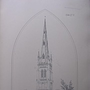 Stunning Large 1858 Lithograph of SAINT MARY'S - Whittlesea - Cambridgeshire