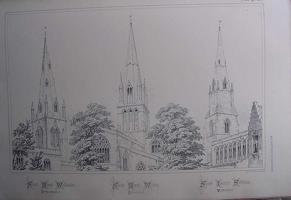 Stunning Large 1858 Lithograph of St. MARY'S - Wollaston.  St. MARY'S - Witney, St. JAMES' - Southam
