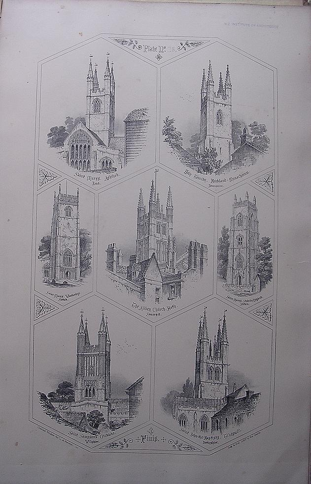 Stunning Large 1858 Lithograph of St. MARY'S - Ashford: THE HOLY TRINITY - Buckland-Monachoram: St. MARY'S - Woodbridge: THE ABBEY CHURCH - Bath: St. MARY'S - Stoke-By-Newland: St. SAMPSON'S - Cricklade: St. JOHN THE BAPTIST - Tidiswell