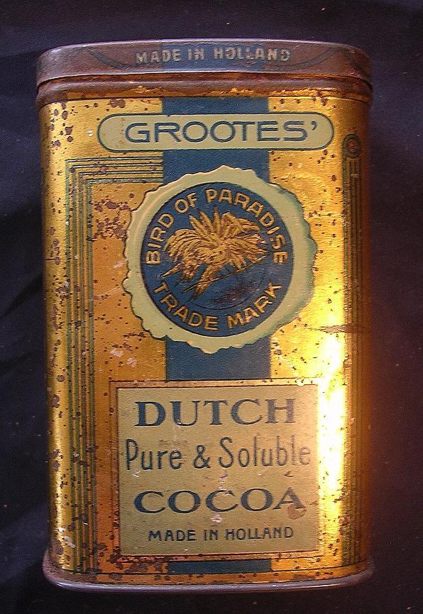 GROOTES' Dutch Girl Brand 4 Ounce Cocoa Tin Circa 1908