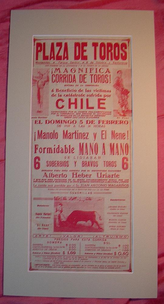 A Rare Old BULL FIGHT Poster From Chile Dating to 1939