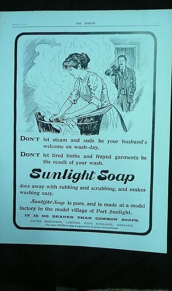 SUNLIGHT Soap - an original Full Page from THE SPHERE 1905