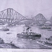 'The Channel Squadron at Anchor off The Forth Bridge' Full Page from The London Illustrated News September 1895