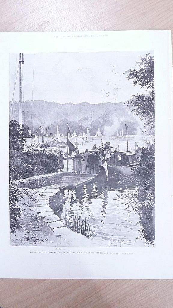 """Full Page Illustrated London News  1895 """"Visit of The German Emperor to The Lakes"""""""