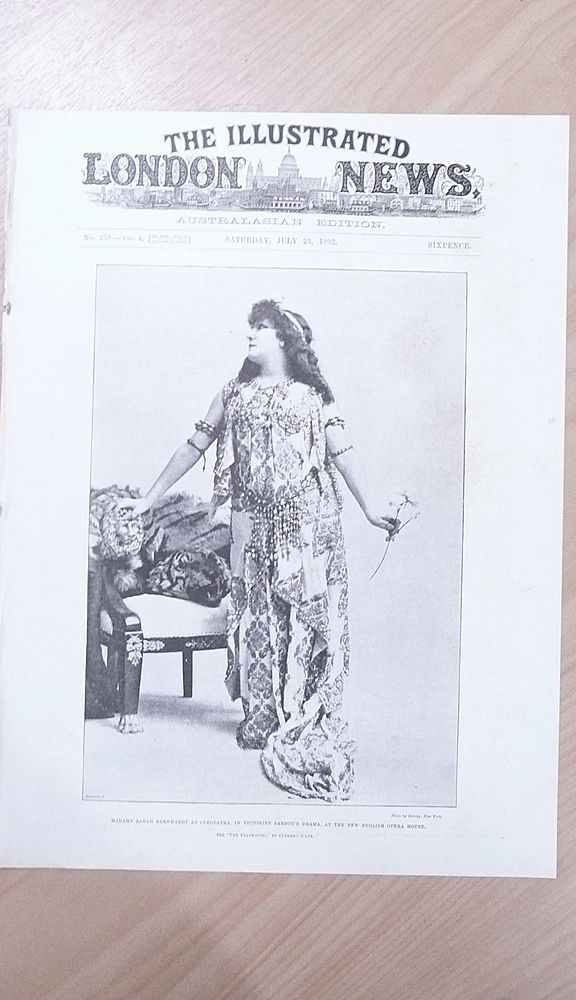 """Front Page Illustrated London News 1892  """"Madame Sarah Bernhardt as Cleopatra"""""""
