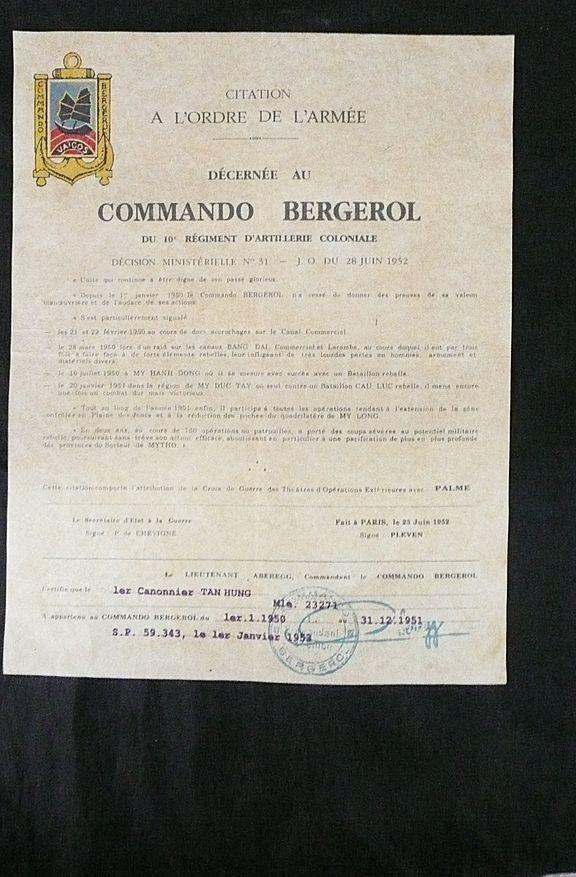 Rare French Indochine War - COMMANDO BERGEROL - Du 10c RAC Citation