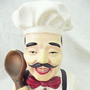 French Chef Plaster Bust  Figure Circa 1940's
