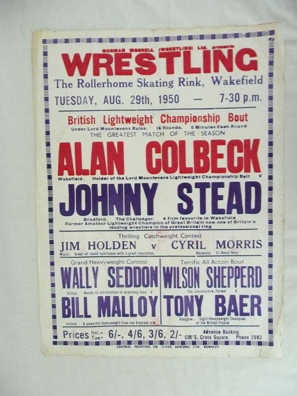 WRESTLING  - Genuine Old 1950 Advertising Poster - Wakefield - England