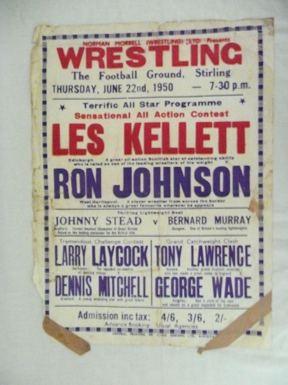 WRESTLING  - Genuine Old 1950 Advertising Poster - Stirling - Scotland
