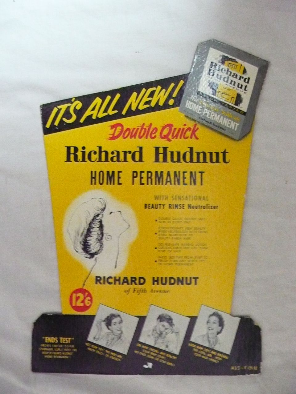 Old RICHARD HUDNUT Advertising Display Card Circa 1960's