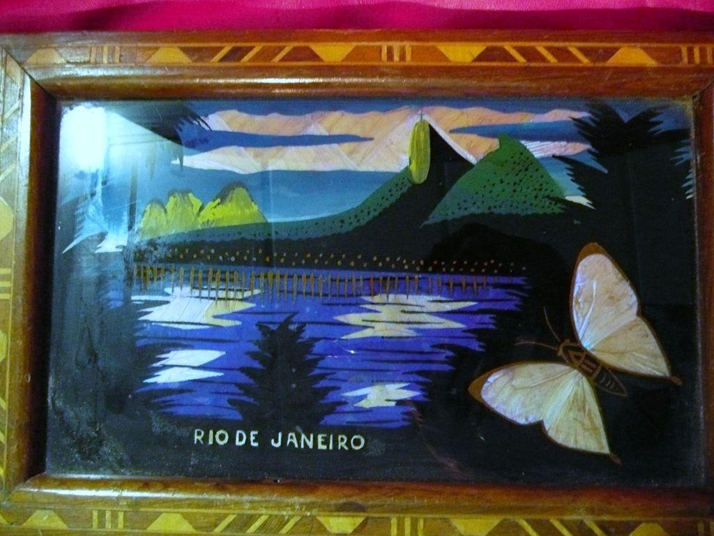 Brazilian Butterfly Wings Tray Circa 1920