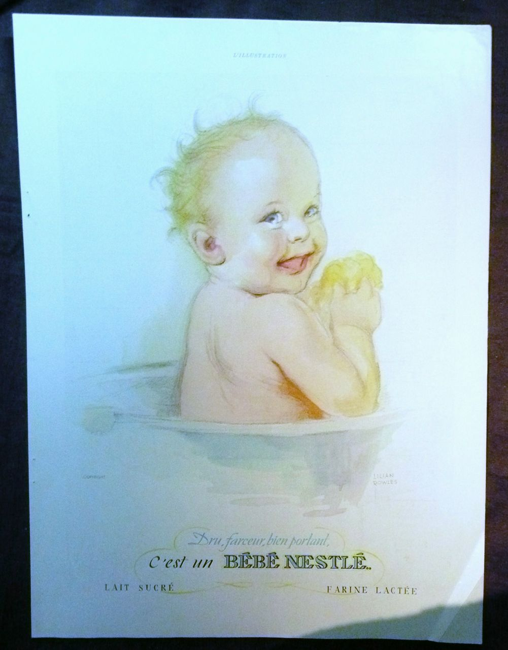 ORIGINAL Bebe NESTLE` Advert  From L ' Illustration French Magazine December 1938