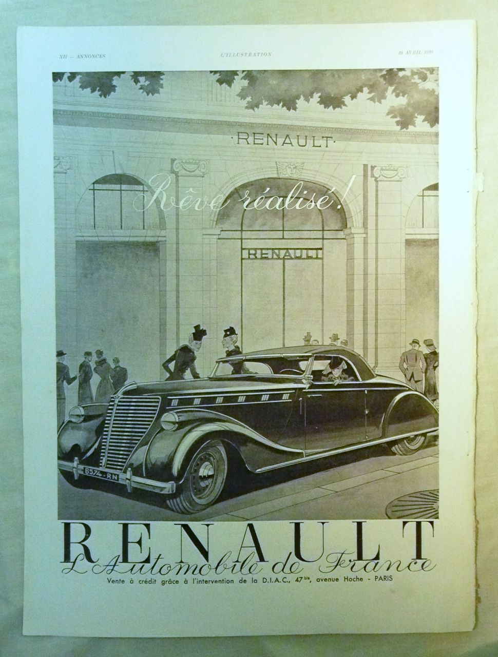 ORIGINAL RENAULT Advert  From L ' Illustration French Magazine April1939