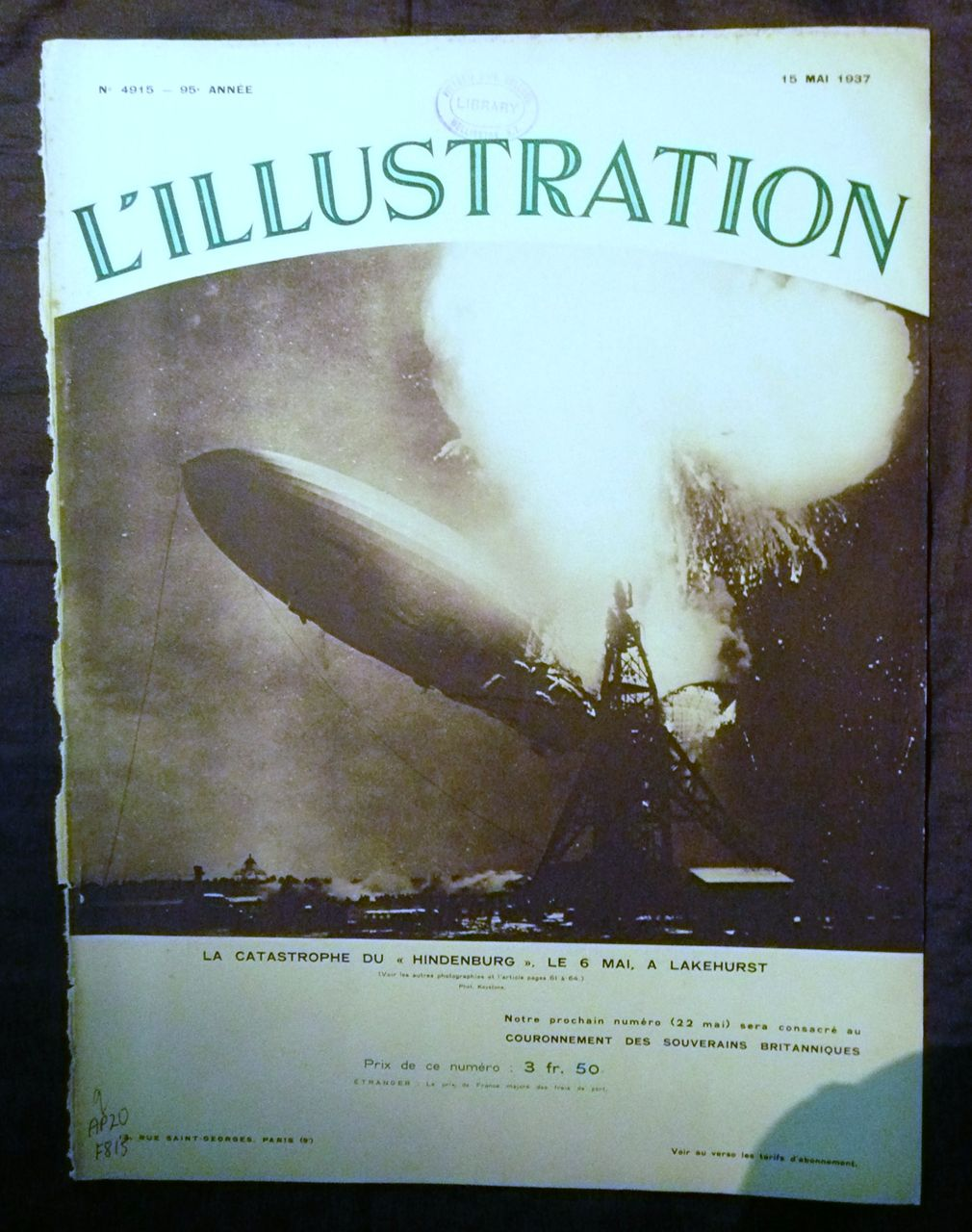 """ORIGINAL """"HINDENBURG """" Front Cover  From L ' Illustration French Magazine May 1937"""