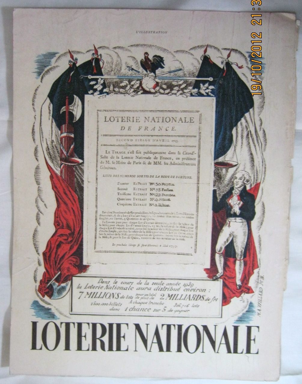 """ORIGINAL """" Lotterie Nationale"""" Advert From L ' Illustration French Magazine July 1939"""