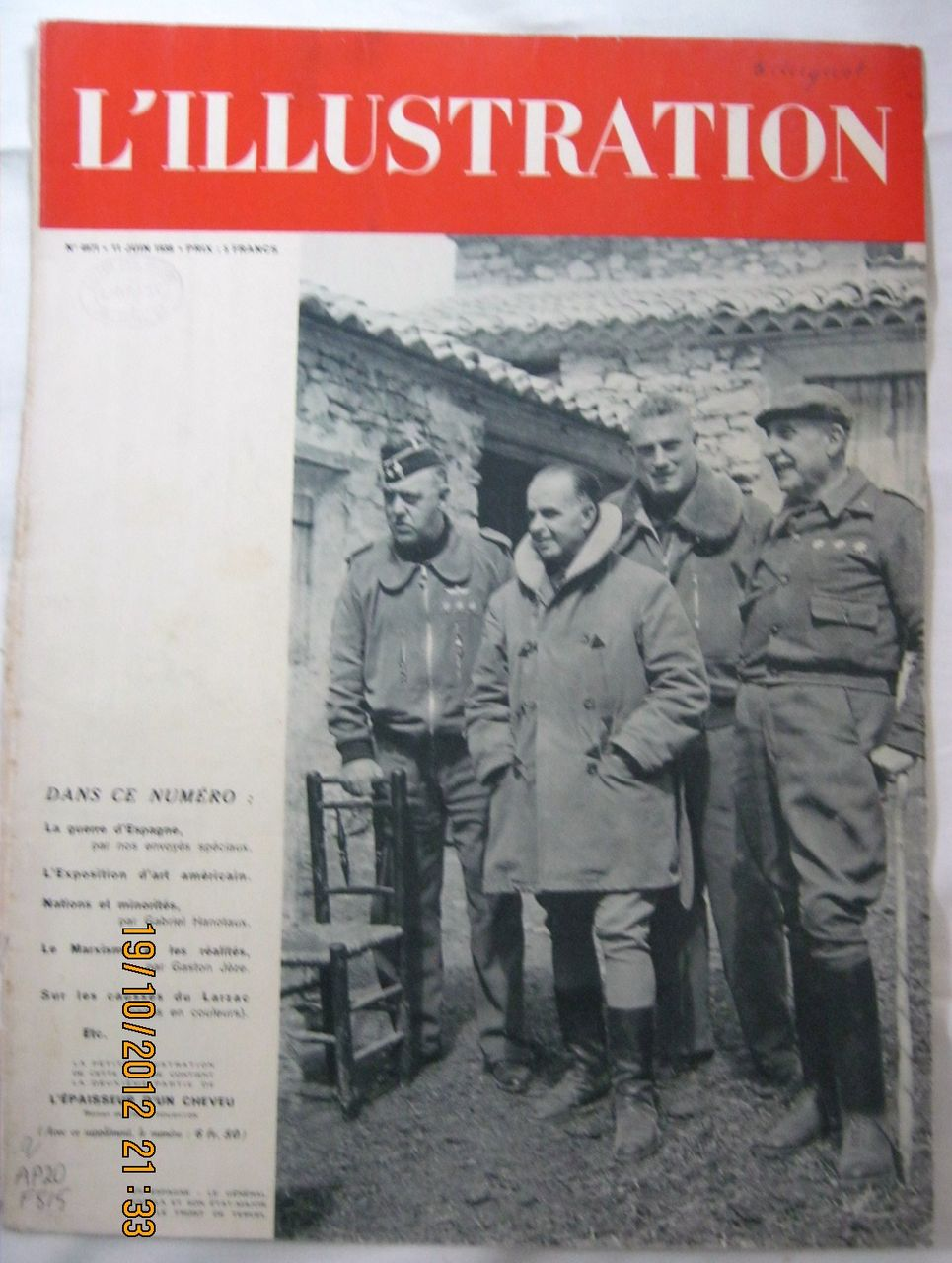 """ORIGINAL FRONT COVER """"Spanish Civil War""""   From L ' Illustration French Magazine June 1938"""