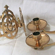 A  Stunning Pair of Double Arm Brass Piano Candle Sconces Circa 1890-1900