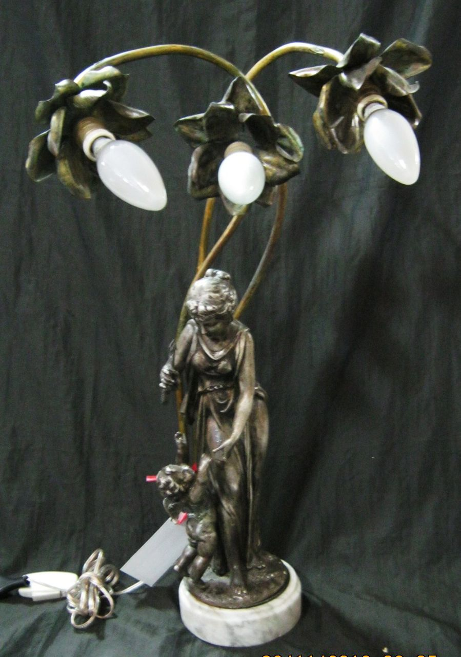 An Original & Beautiful Pewter & Brass Figural Lamp Circa 1910