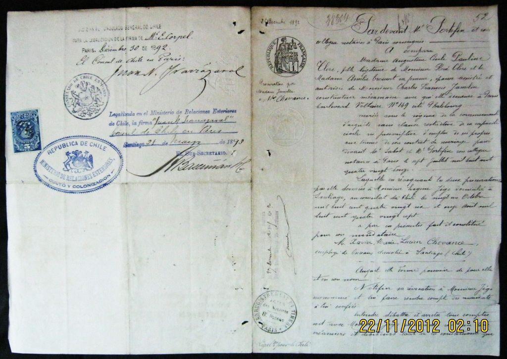 French & Chilean Legal Document  - Paris Dec. 1892 & Chile 1893
