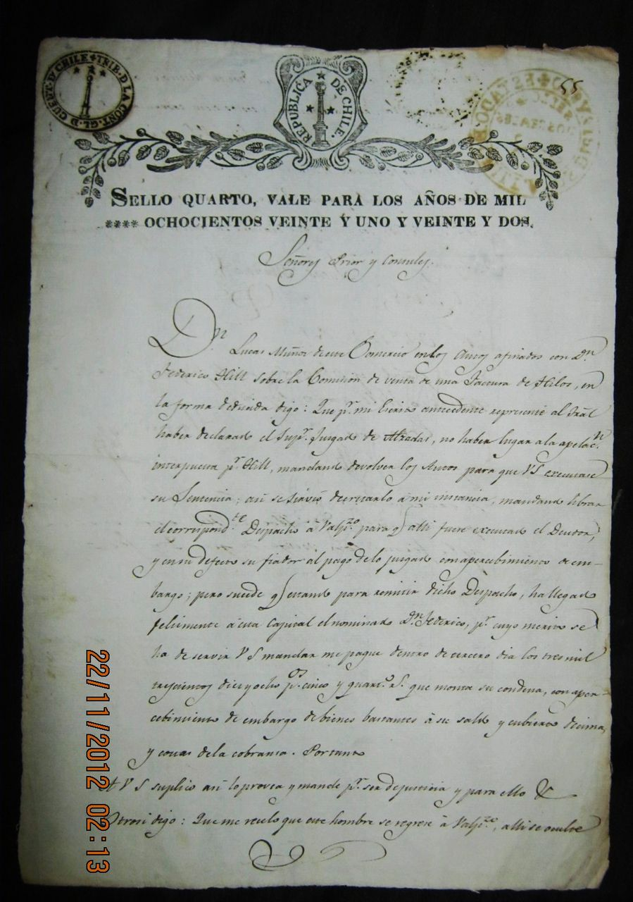 Old Chilean Legal Document Dated Oct.12 1821