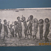 "Photographic Postcard ""Maori Children Dancing A Haka"". Rotorua, New Zealand"