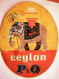 "Vintager P&O Shipping Lines  ""Ceylon"" Baggage Sticker"