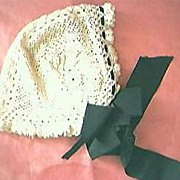 Victorian Lace Mourning Bonnet  Mid-Late 1800's