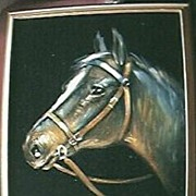 Large Original Horse's Head Painting On Velvet