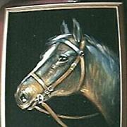 Large Original Horse's Head Painting On Velvet