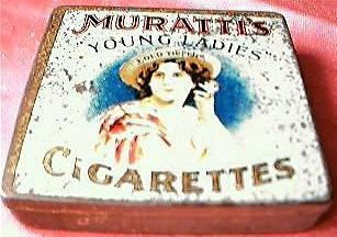 """Rare MURATTI'S """"Young Ladies"""" Cigarettes Tin Circa 1910"""