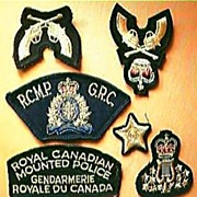 Set of Seven Mounties -  RCMP. Cloth Badges Circa 1973