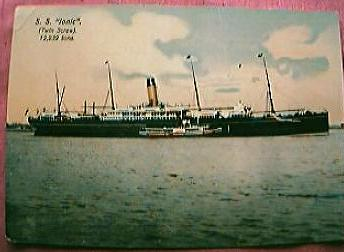 """Vintage Shipping Postcard Blue Star Line """"S.S. IONIC"""""""