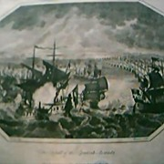 "Antique Engraving ""The Defeat of The Spanish Armada"" 1804"
