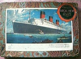 """Vintage  Shipping Jigsaw of Cunard Liner """"Queen Mary"""""""