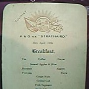 Vintage  P & O LINE Shipping Menu S.S. Strathaird 1936