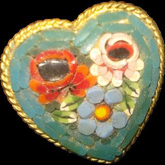 SALE Heart Shaped Micro-Mosaic Pin