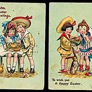 2 Katherine Gassaway Children Easter Postcards