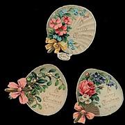 3 1870s Diecut Christmas Litho Pieces - Raphael Tuck
